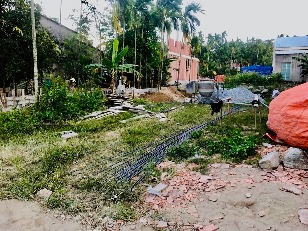 A photograph of building work starting to create a yoga sala for the retreat center Gratitude Vietnam in Hoi An.