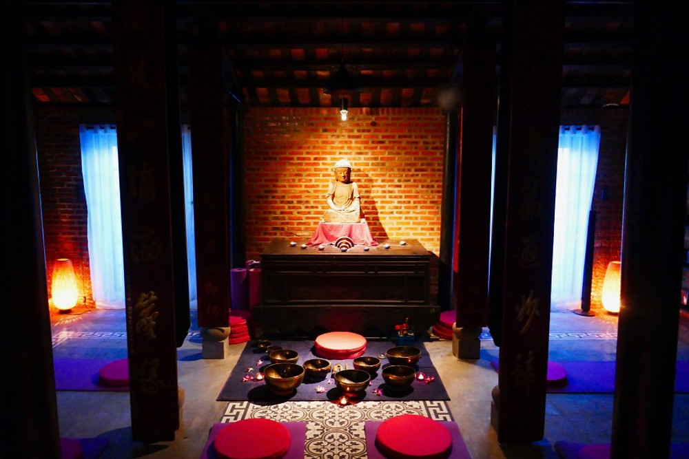 A photograph of the Meditation Room at the Gratitude Vietnam, retreat center Vietnam