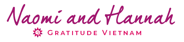 The signature of Naomi and Hannah at the Gratitude Vietnam Healing Retreat Center in Hoi An Vietnam