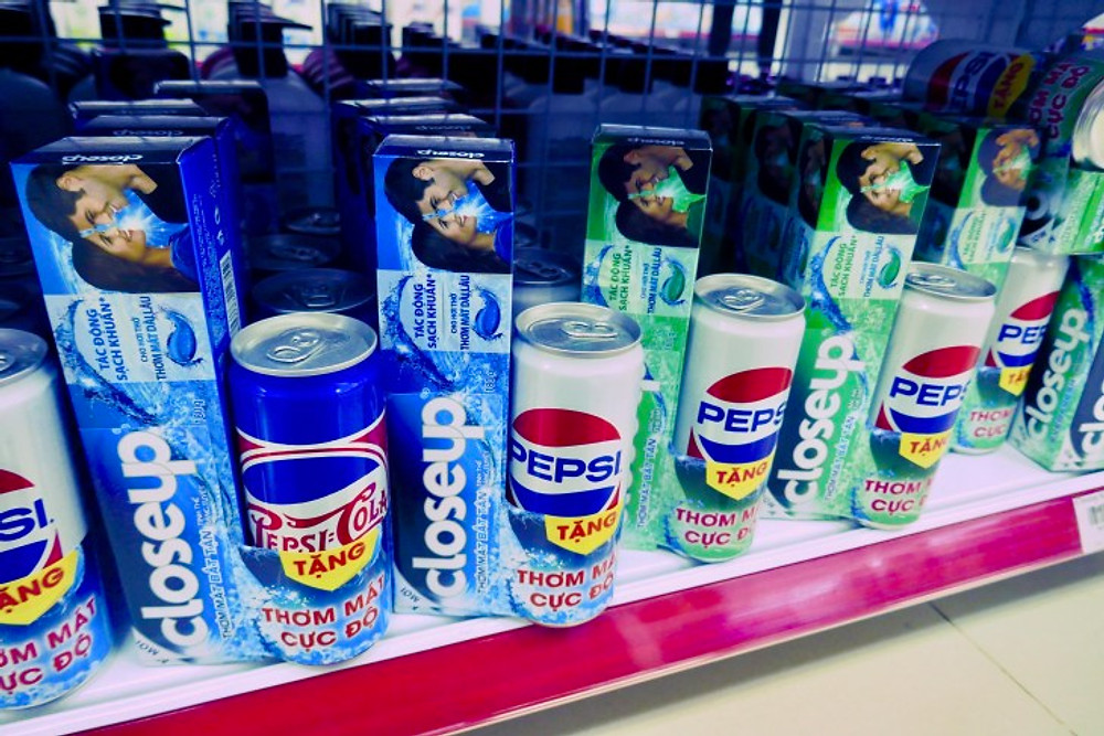 Toothpaste for sale with free Pepsi on Phu Quoc