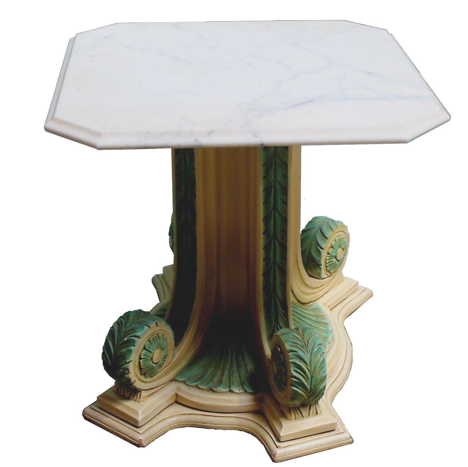 Vintage Neoclical Pedestal Marble Top Side Table
