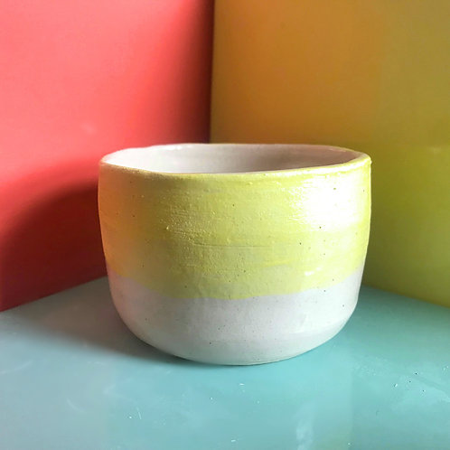 painted pot (yellow and white)