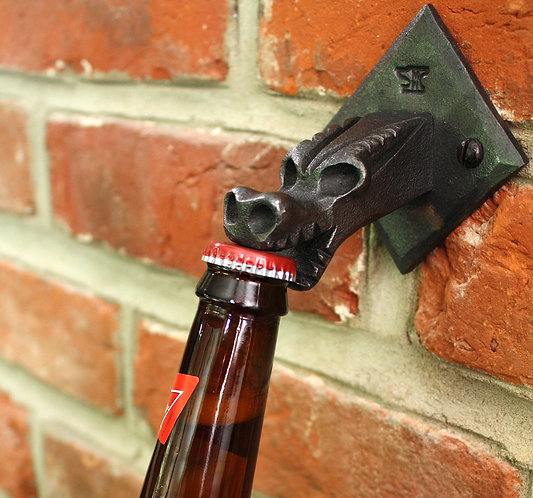 Hand forged wall mounted dragon bottle opener