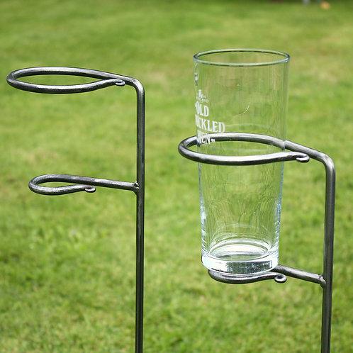 Garden pint glass and bottle holders