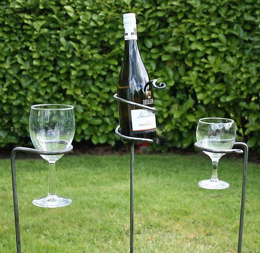 Garden wine glass and bottle holder set
