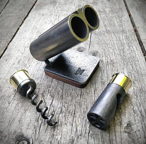 Cartridge bottle opener and corkscrew set