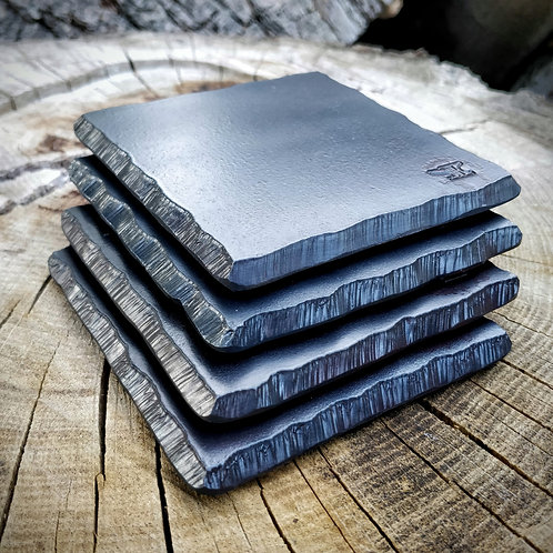 Solid steel rough cut drinks coasters