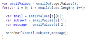 Get email data values and send email
