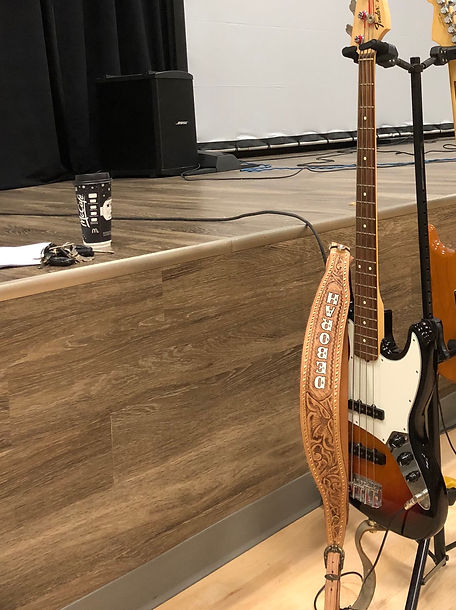 4. Fender Jazz Bass - Serial #US11136915 & Personalized Guitar Strap with attached Shure G