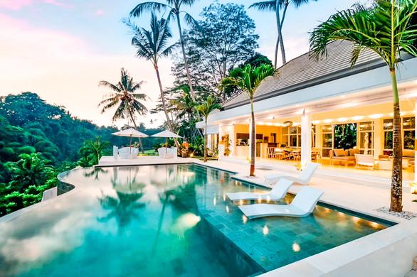 Ubud Villa Pool at Night