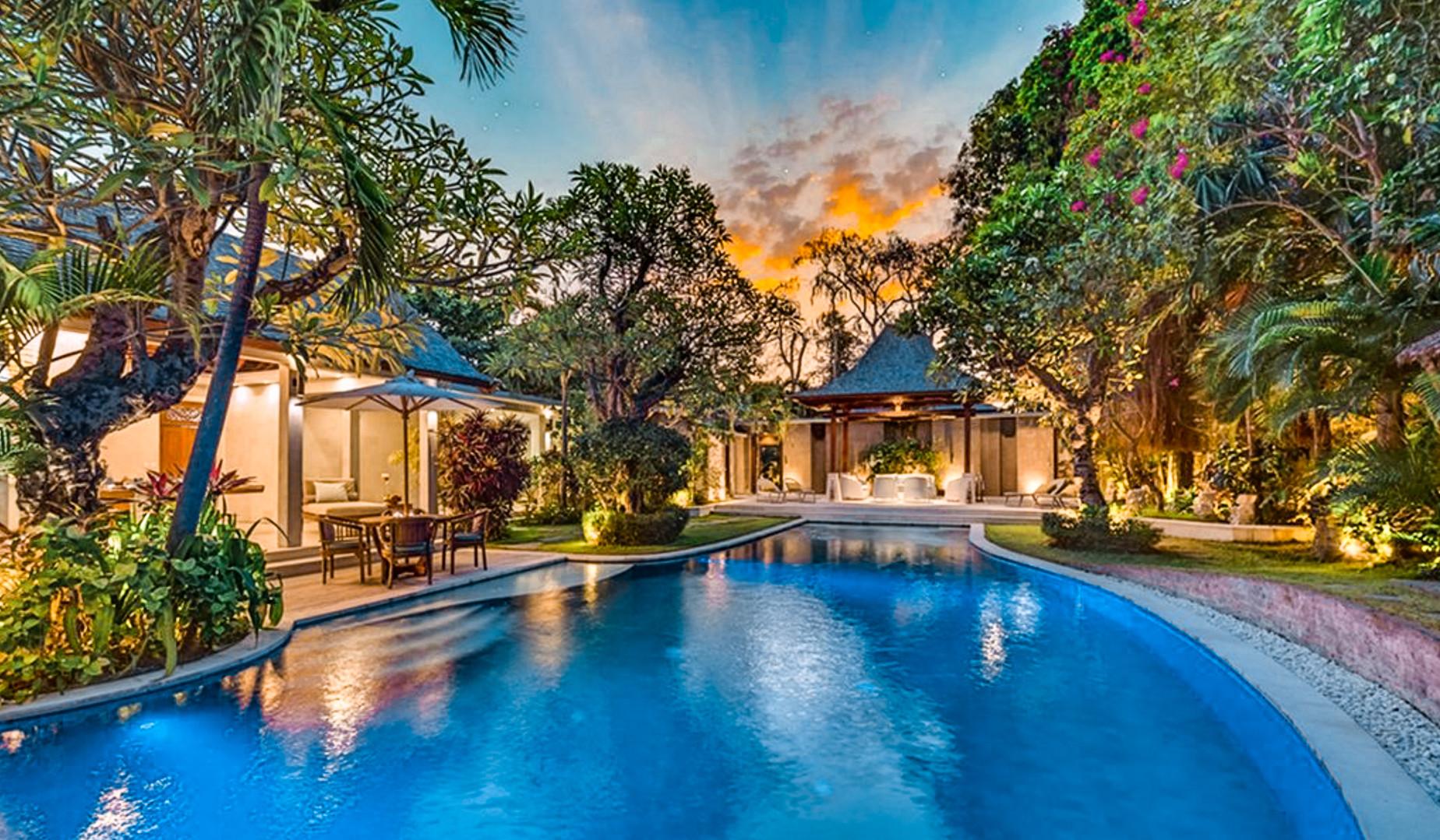 Seminyak Villa Pool at Night