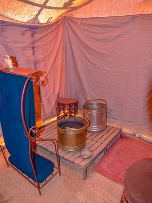 Bathroom Inside the Tents at Erg Chigaga Luxury Tent Camp