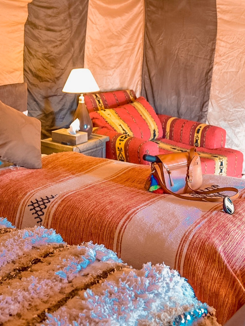 Inside the Tents at Erg Chigaga Luxury Tent Camp