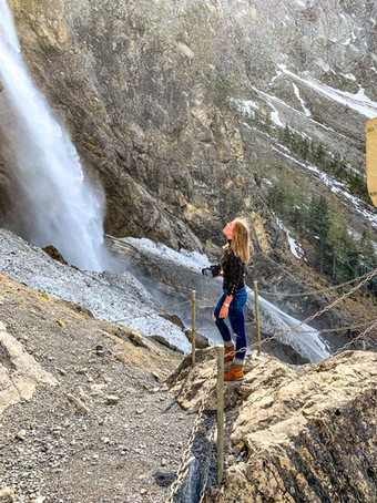 Admiring a Waterfall in Adelboden