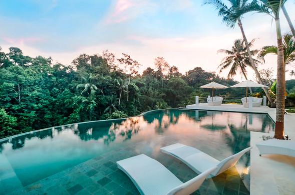 Ubud Villa Pool at Sunset