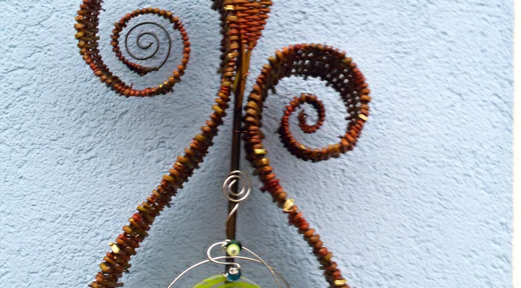 Flechtobjekt Spirale mit Glas