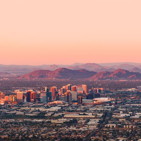 Phoenix Arizona with its downtown lit by