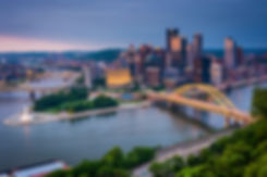Evening view of Pittsburgh from the top