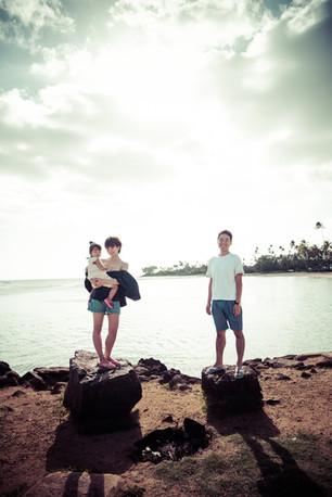 Family portrait at Kahala Beach park