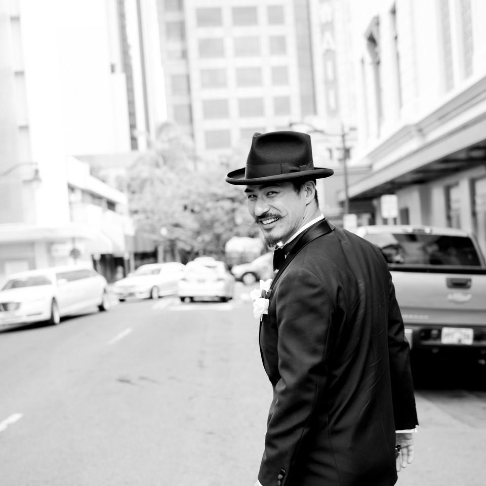 Groom Walking the street