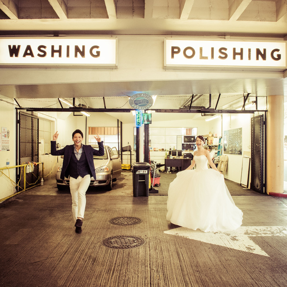 Wedding Couple at the Car Wash