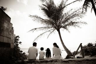 Family portrait at Lanikai Beach in the morning