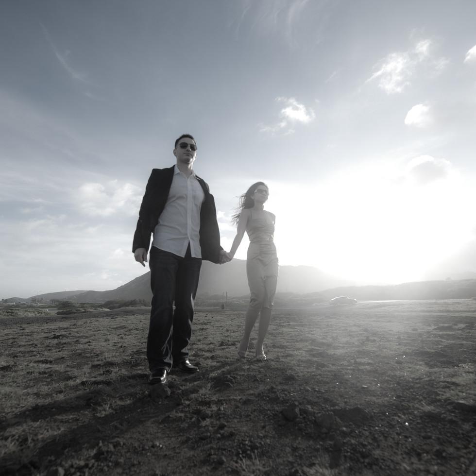 Couple on a misty Day, Sandy Beach