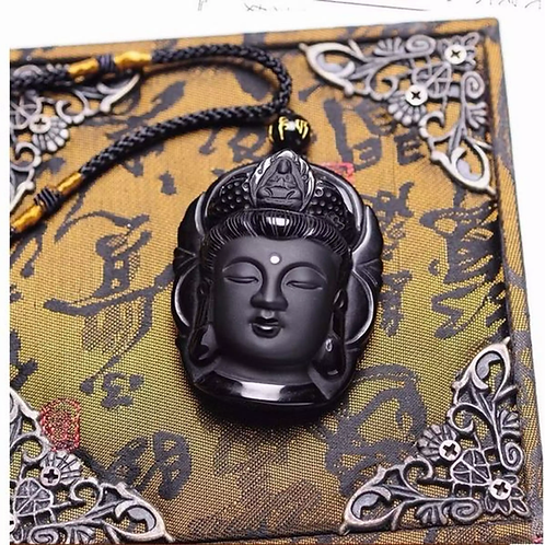 Obsidian Guang Yin Amulet Pendant