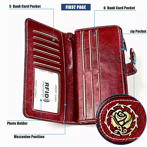 Lucky Wallet, RFID, Real Quality Leather