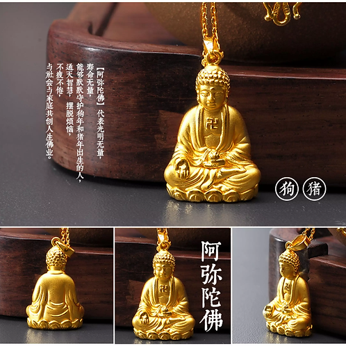 18K Gold Plated  Buddha Statue Amulet Pendant Necklace