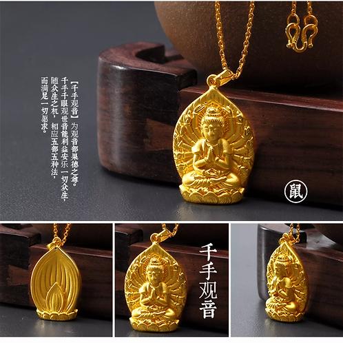 18K Gold Plated  Buddha Statue Amulet Pendant Necklace