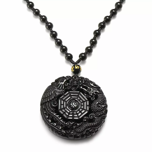 Carved Dragon &  Phoenix Lucky Pendant Necklace