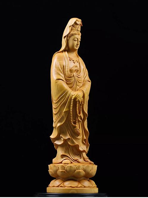 21cm Guan Yin Wooden Sculpture Buddha Statue