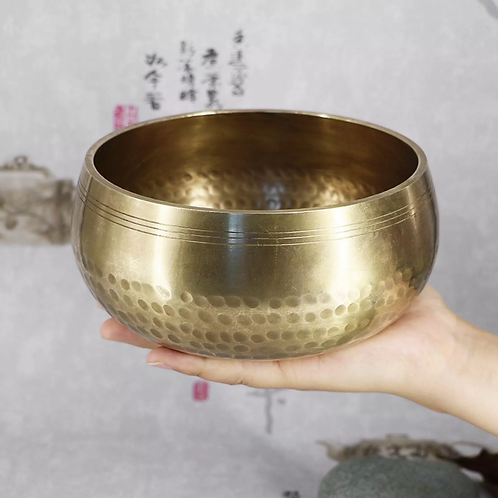 Nepal Handmade Copper Buddha Tibetan Bowl Ritual Music Therapy Chime, 15cm