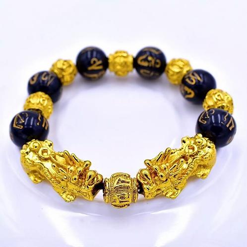 Natural Stone Black, Gold Pixiu Bracelet