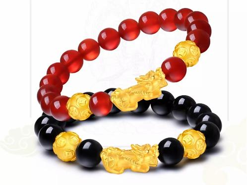 Couple Bracelets Black Matte Onyx and Red, Natural Stone Couple Bracelets