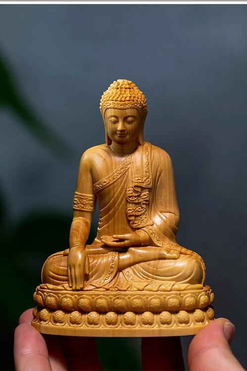 Boxwood 10CM Thailand Sakyamuni Wood Buddha Statues