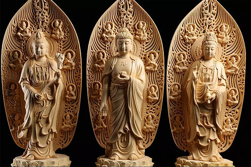 3 Buddhist Temple Statue, Amitabha Guanyin Bodhisattva