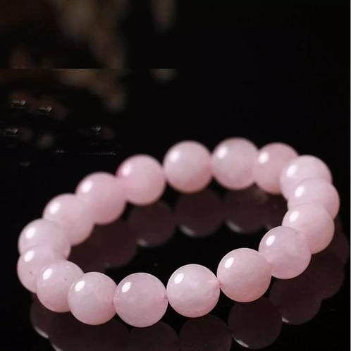 Pink Quartz Beads Bracelet Natural Rose Crystal, 10mm