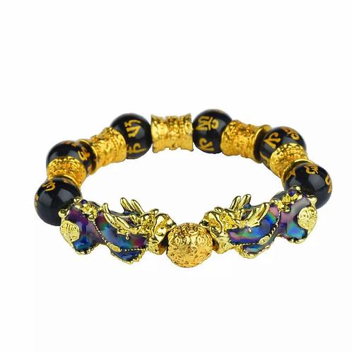 18K Gold Dragon Changeable Color Sutra Wealth Beaded Men Bracelet