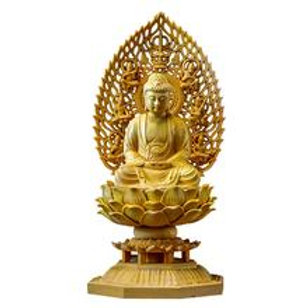 "Boxwood Buddha Sitting On Lotus With Buddha Light 7"""