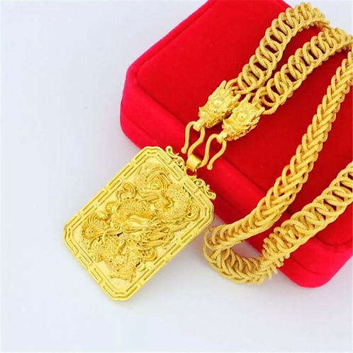 18k Gold Plated - Chinese Dragon Pendant with Necklace