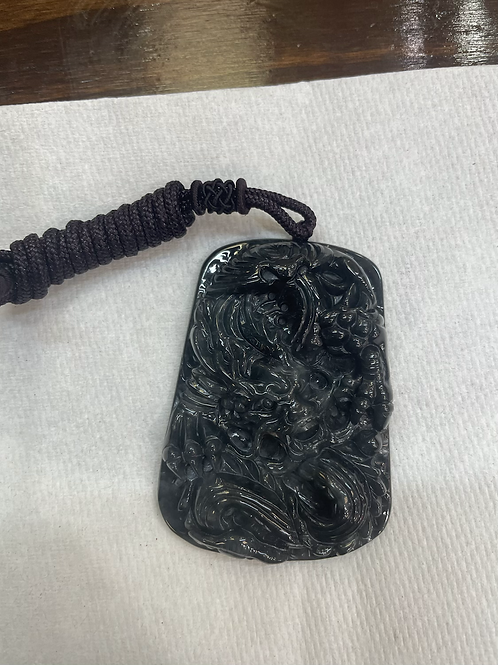 Black Jadeite pendant with certificate
