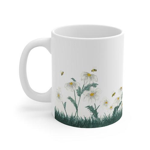 Happy Bees and Daisies Mug