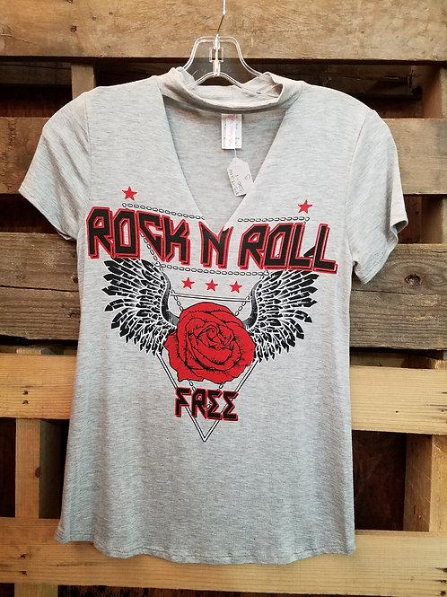 Ladies Gray Rock N Roll V-neck T-shirt