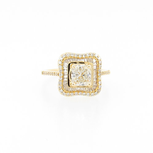 1.50ctw Diamonds Princess Cut with Halo Engagement Ring Front