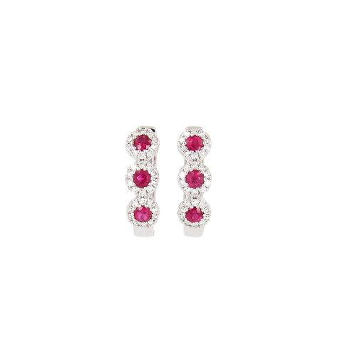 Rubies & Diamonds Hoop Earrings Front