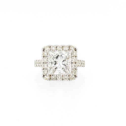 5.67ctw Diamonds Princess Cut with Halo Engagement Ring Front