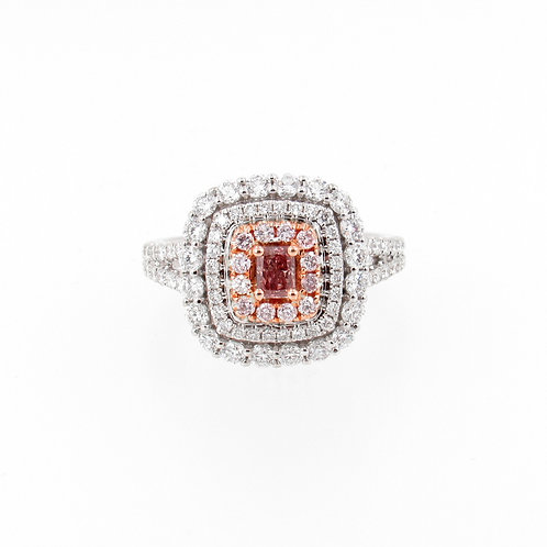 1.33ctw Pink and White Diamonds Ring Front