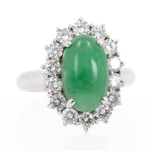 6.55ct Oval Cabochon Jade & Diamond Halo Ring front